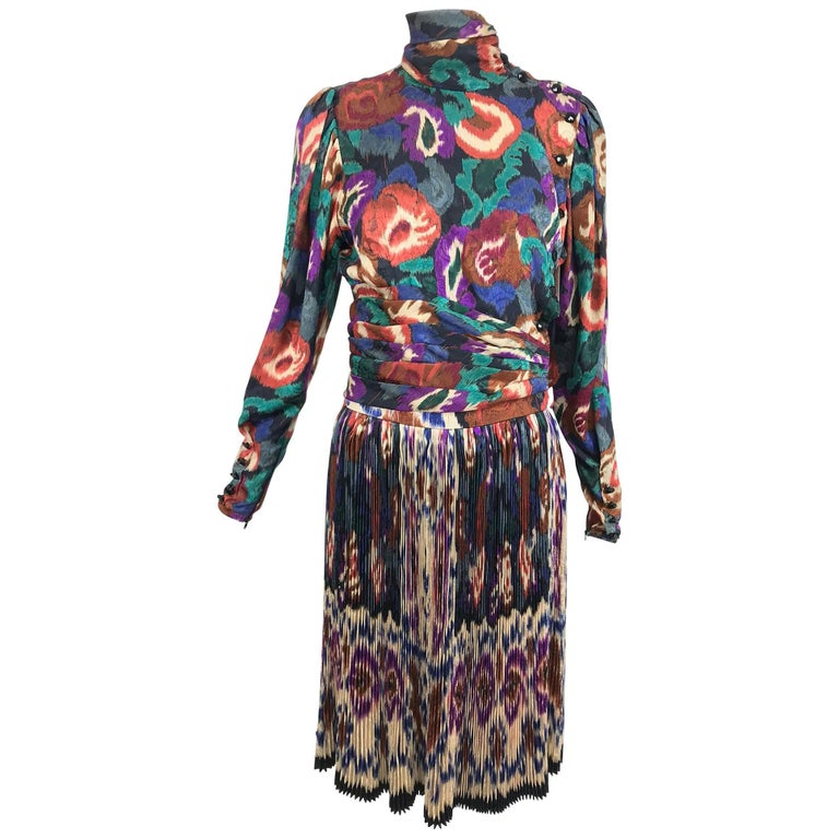 Vintage Ungaro rich silk jacqard ikat print pleated skirt and top 1980s