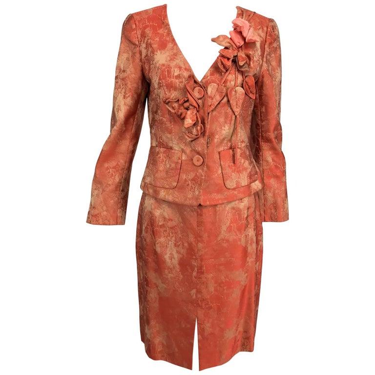 Christian LaCroix red and beige brocade floral applique skirt set 1990s