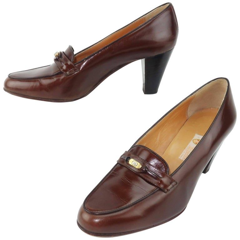 Preppy 1970's Gucci Brown Leather Heeled Loafers 37 1/2 B