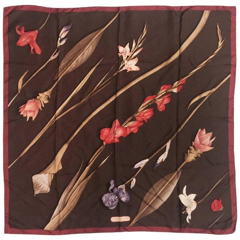 Salvatore Ferragamo Chocolate Silk Scarf With Calla Lily and Iris Print