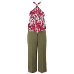 "ALEXANDER McQUEEN S/S 2001 ""Voss"" 2 Pc Paisley Print Halter Green Capri Pant Set"