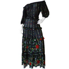 1970s Gottex Floral Off the Shoulder Maxi
