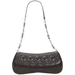Charcoal Christian Dior Cannage Denim Shoulder Bag