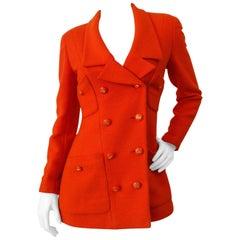 1980s Chanel Orange Double Breasted Jacket