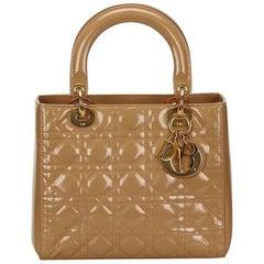 Tan Christian Dior Patent Leather Lady Dior Bag