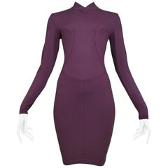 Pristine Azzedine Alaia Aubergine Knit Body Con Dress 1991