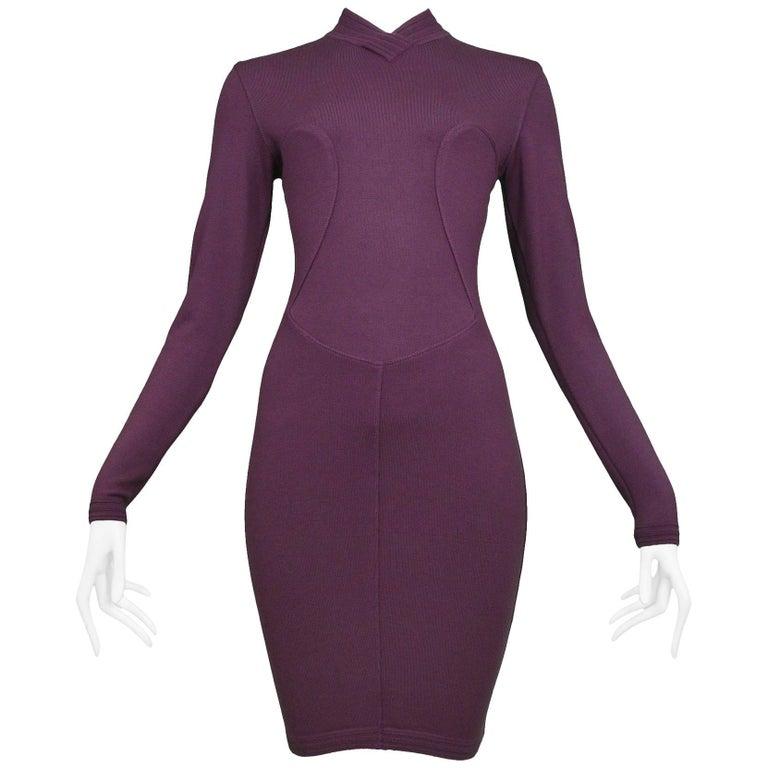 Pristine Vintage Alaia Purple Knit Body Con Dress 1991  For Sale