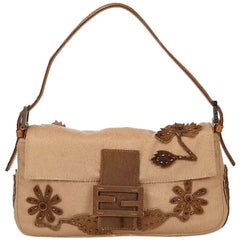 Tan Fendi Wool Embellished Baguette Shoulder Bag
