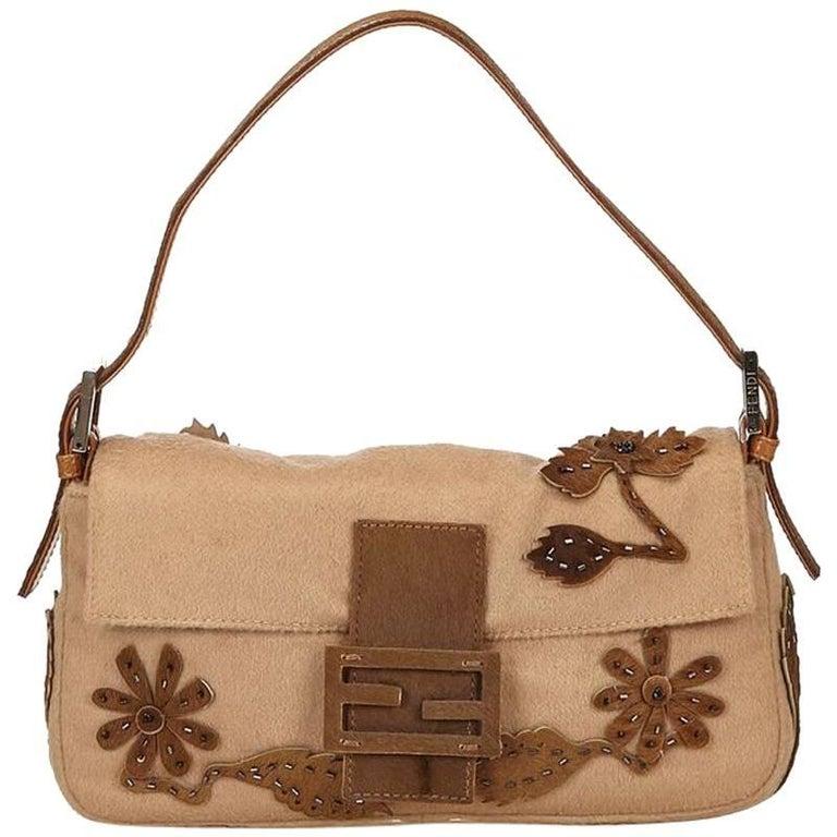 Tan Fendi Wool Embellished Baguette Shoulder Bag