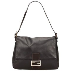 Black Fendi Leather Baguette Shoulder Bag