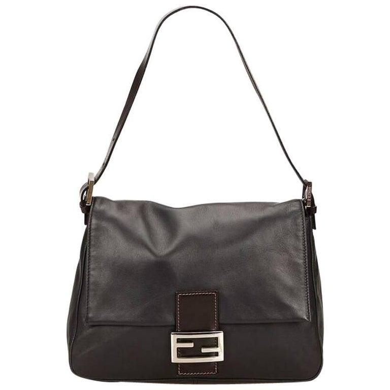 Black Fendi Leather Baguette Shoulder Bag