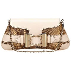 Beige Gucci Python & Leather Shoulder Bag