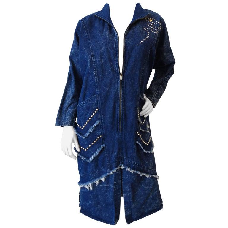 1980s Denim Zip-Up Coat Dress