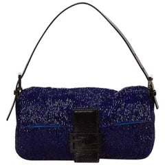 Blue Fendi Beaded Baguette Bag