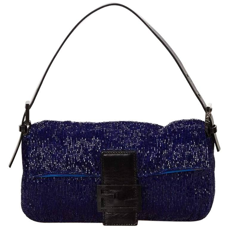 Blue Fendi Beaded Baguette Bag