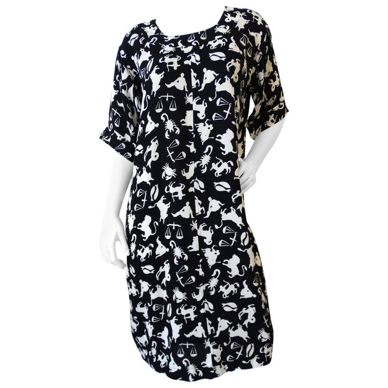 Saint Laurent Zodiac Print Shift Dress