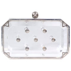 Alexander McQueen Clear Lucite Clutch with Skull and Studs