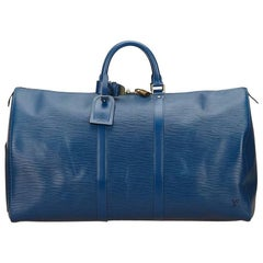 Blue Louis Vuitton Epi Leather Keepall Bag
