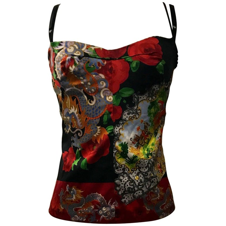 Dolce & Gabbana Red Dragon and Fan Print Bustier Corset Top, 1990s