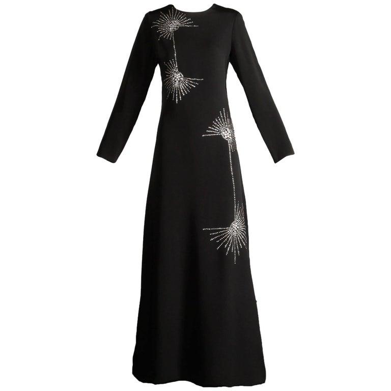 1960s Teal Traina Vintage Black Jersey Maxi Dress with Prong Set Rhinestones