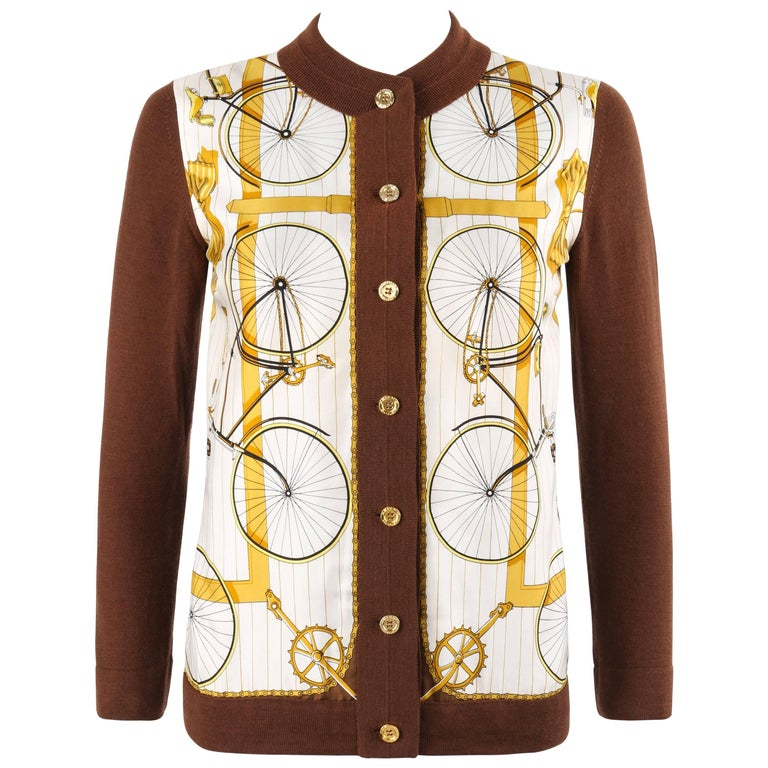 """HERMES c.1980's """"Les Becanes"""" Silk Scarf Bicycle Cycle Themed Knit Cardigan"""