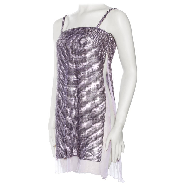 1990s Gianni Versace Crystal Metal Mesh Dress