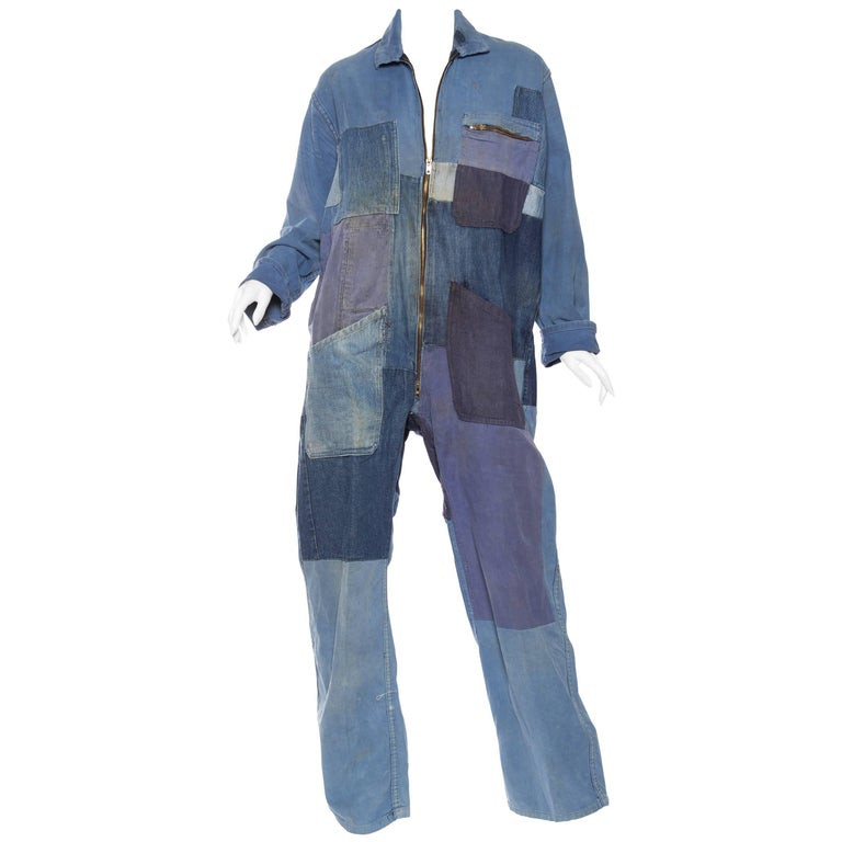 Denim Patchwork French Workwear Coverall Jumpsuit