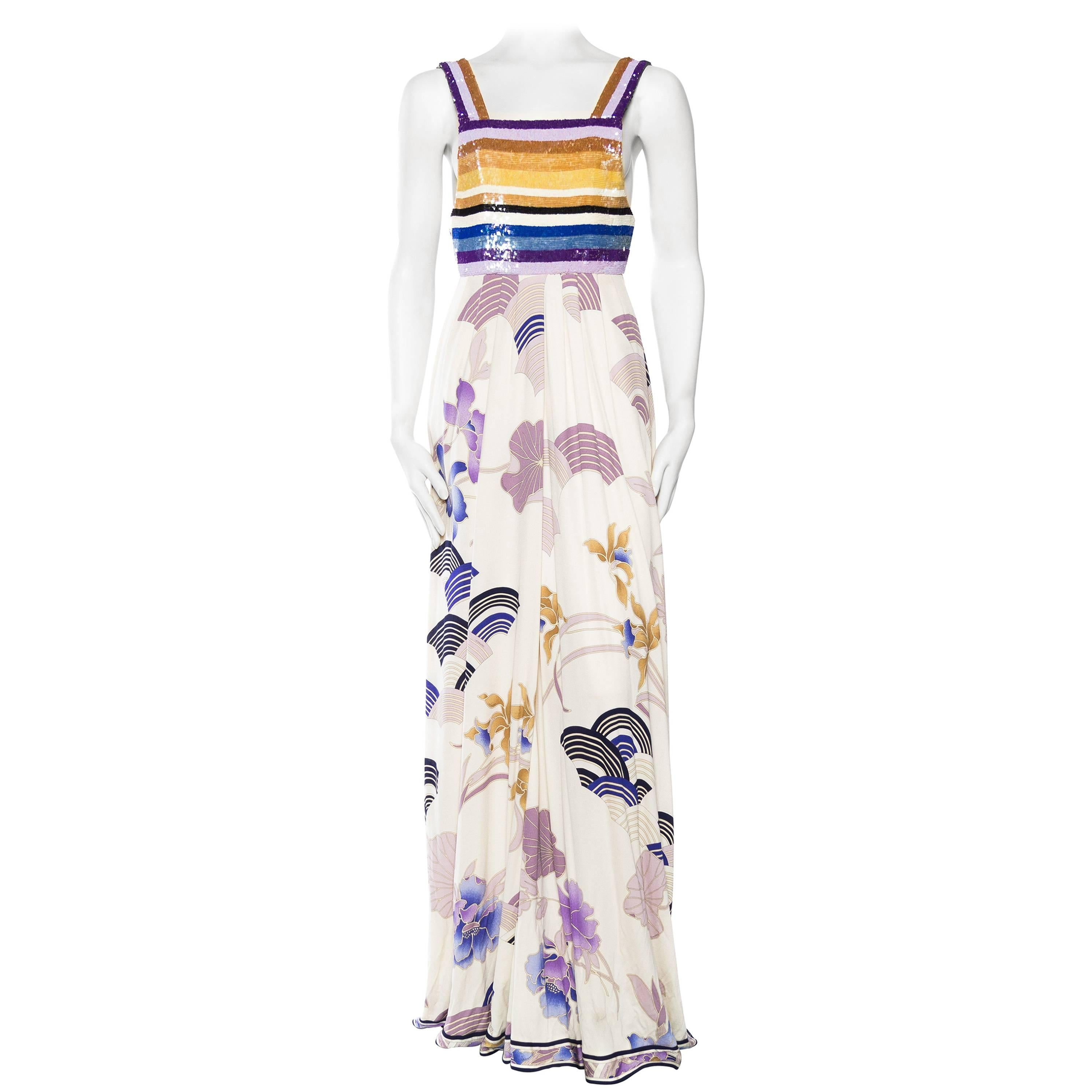 1990S LEONARD Purple & Blue Silk Jersey Asian Floral Print Gown With Striped Se
