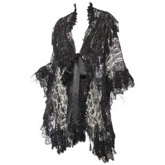 Victorian Black Silk Handmade Lace Dolman Style Fringed Cape From Paris