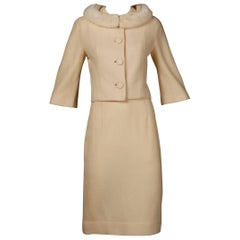 1960s Bullock's Vintage Cream Wool Jacket + Skirt Suit Ensemble with Mink Fur