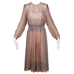 1970 Vintage Sheer Paper Thin Indian Print Silk Dress by The Silk Farm