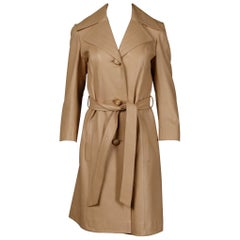 1970s Soft Buttery Beige Leather Trench Coat + Matching Sash Belt
