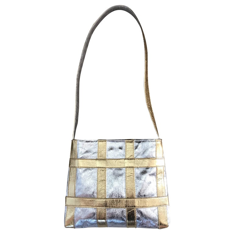 1960s Walborg Italian Leather Silver and Gold Geometric Vintage Shoulder Bag
