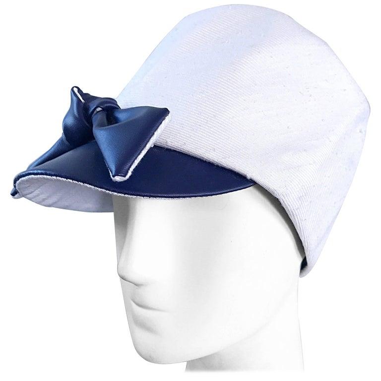 1960s Oleg Cassini Navy Blue + White Mod Linen + Silk Nautical Vintage 60s Hat  For Sale