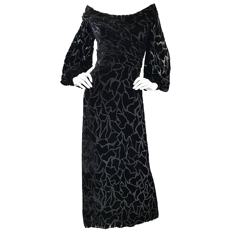 Vintage Liancarlo Couture Size 10 Black Off Shoulder Silk Velvet Burn Out Gown