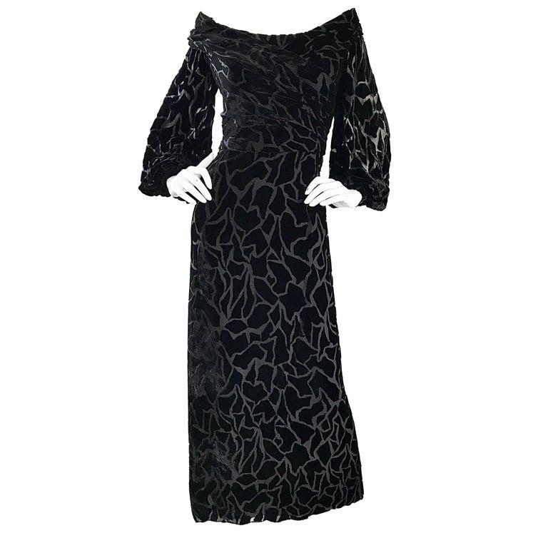 Vintage Liancarlo Couture Size 10 Black Off Shoulder Silk Velvet Burn Out Gown  For Sale