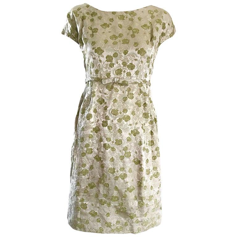 1950s Demi Couture Avocado Green Silk Brocade Vintage 50s Cap Sleeve Dress