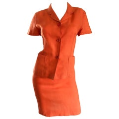 1990s Kenzo Bright Orange Linen Vintage Short Sleeve Two Piece Jacket Skirt Suit