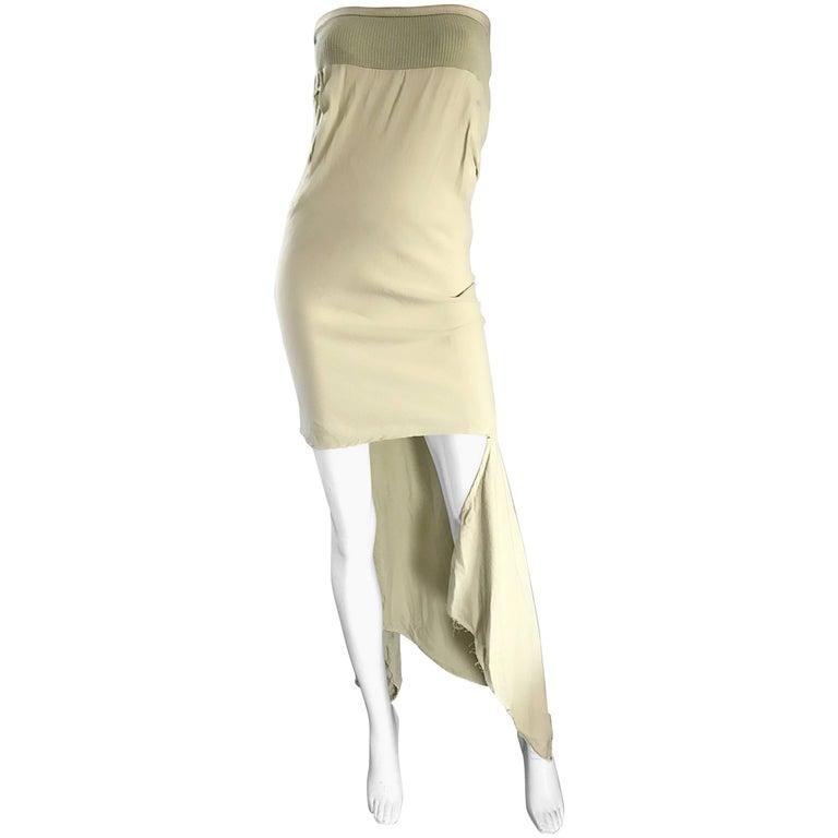 New Rick Owens ' Queen ' F/W '04 Strapless Light Green Asymmetrical Dress
