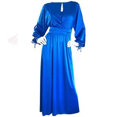 1970s House of Bianchi Royal Blue Cold Shoulder Vintage 70s Maxi Dress Gown