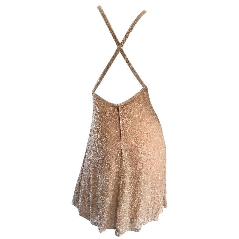 NWT $3k 1990s Calvin Klein Size 10 Nude Silk Chiffon Beaded 90s Babydoll Dress