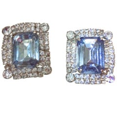 Magnificent Blue Rhinestone Clip Earrings - Early 1960's - Highly Unusual