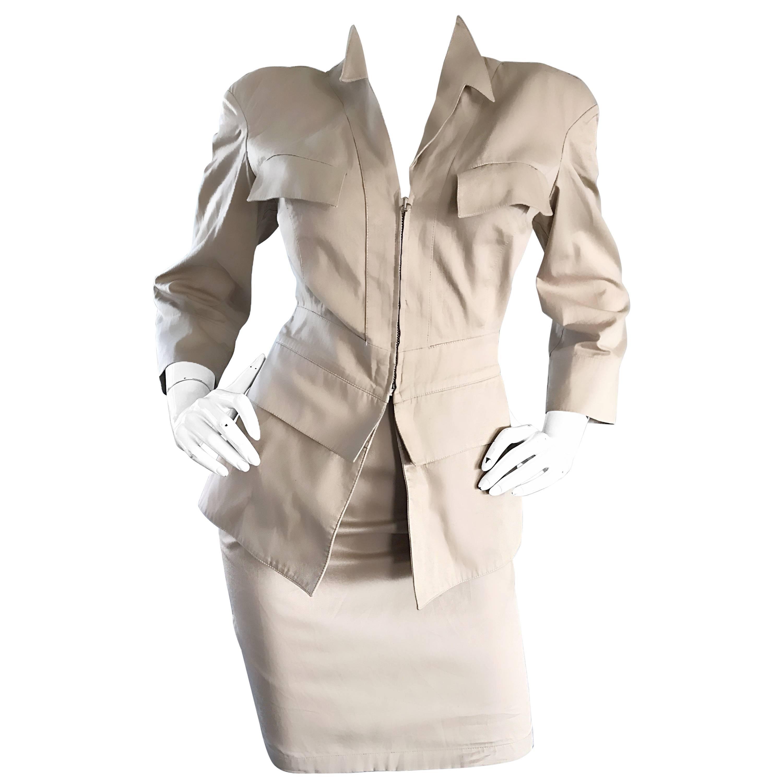 Thierry Mugler 1990s Khaki Safari Two Piece Vintage Bodycon 90s Skirt Suit