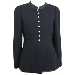"Chanel Black Wool and Silk Jacket with Faux ""CC"" Pearls Buttons"