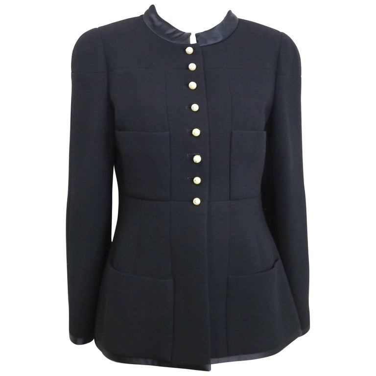 "Chanel Black Wool and Silk Jacket with Faux ""CC"" Pearls Buttons For Sale"