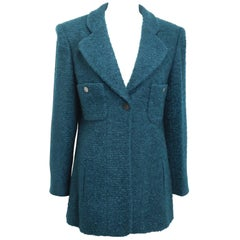 Unworn and Rare 97 Chanel Green Wool and Mohair Tweed Jacket