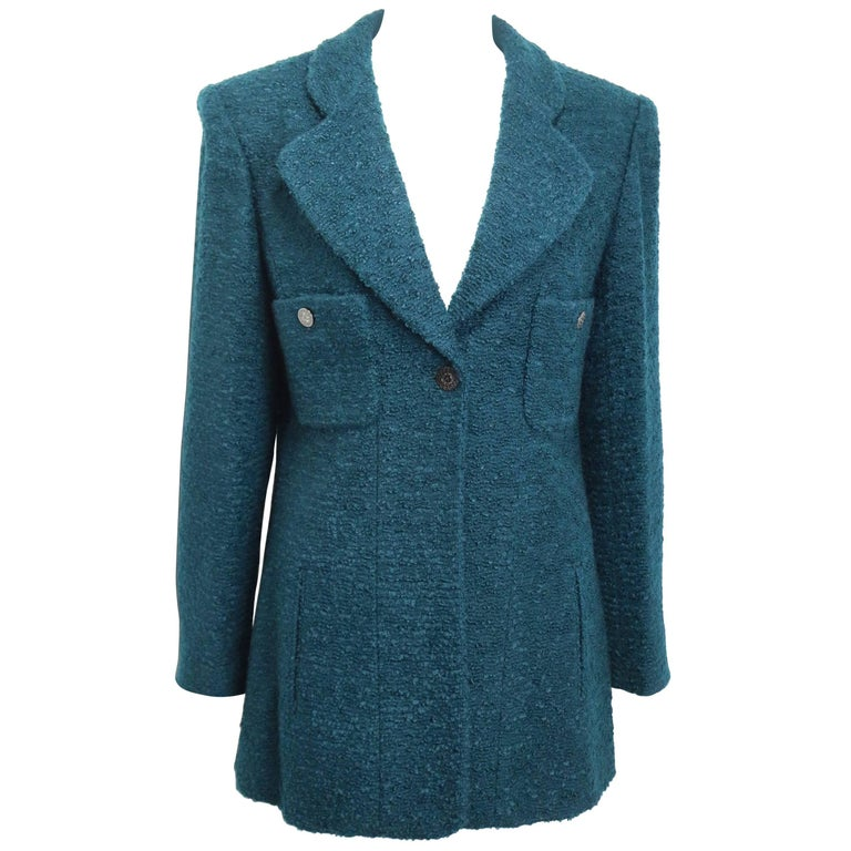 Chanel Green Wool and Mohair Tweed Jacket For Sale at 1stdibs