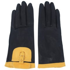 Stylish C.1980 Italian Black & Tan Leather Gloves