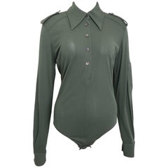 Gucci by Tom Ford Green Bodysuit Long Sleeves Shirt