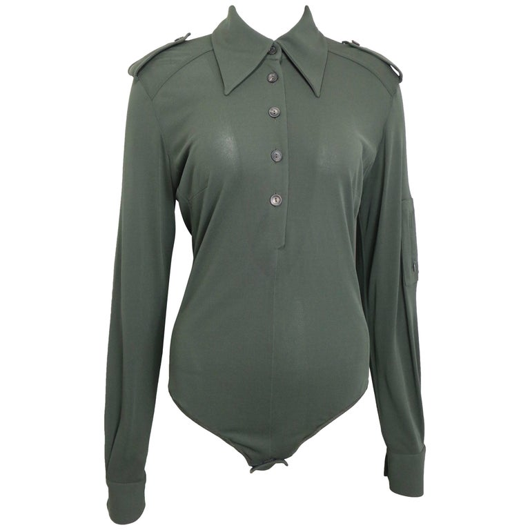 Gucci by Tom Ford Green Bodysuit Long Sleeves Shirt  For Sale